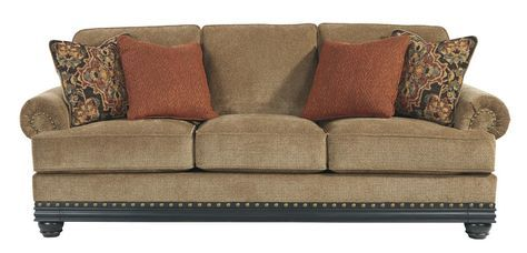 Elnora Traditional Clics Umber Wood Polyester Sofa