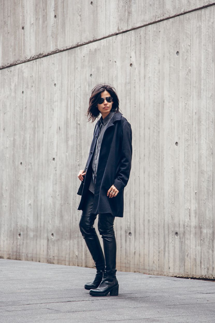 grey button up shirt from Acne Studios, black coat from A.P.C, leather trousers from H&M