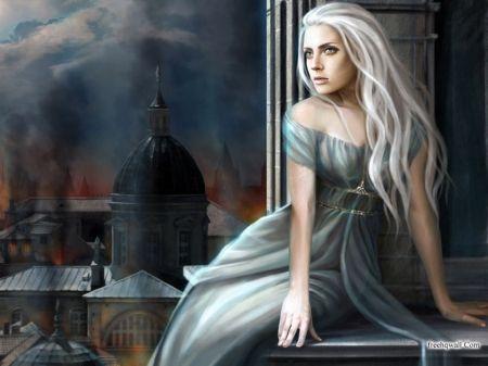 white hair fantasy woman