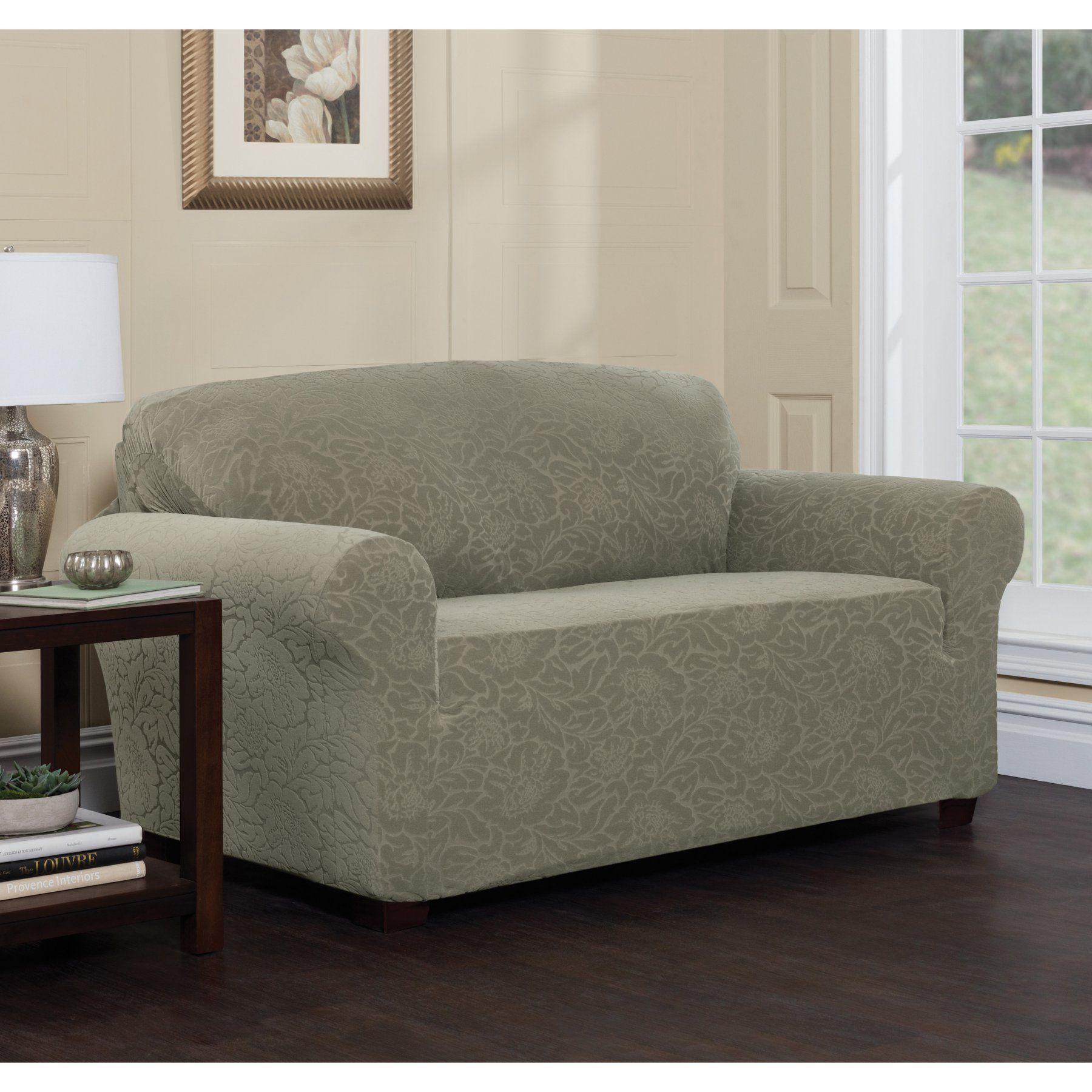 Stretch Sensations Stretch Floral Sofa Slipcover   9587SOFCHOCOLATE
