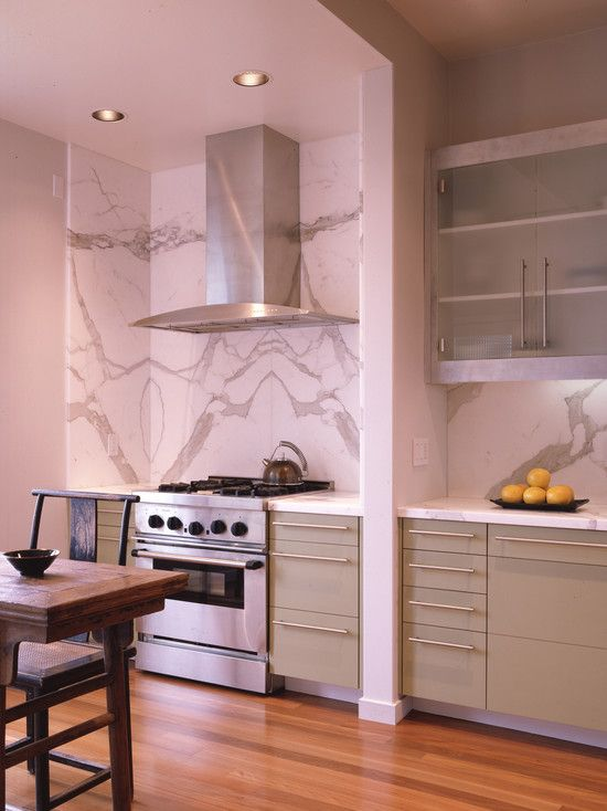 Carrara Marble Slab Backsplash Design Pictures Remodel Decor And Ideas Kitchen Design Trends Kitchen Backsplash Designs Contemporary Kitchen