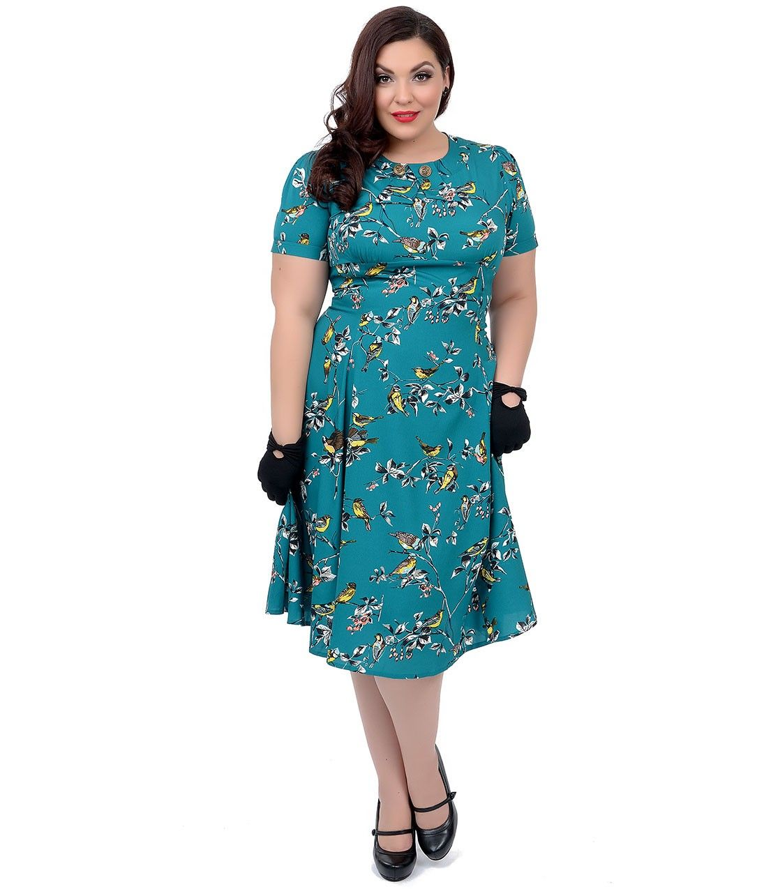 Plus Size Hell Bunny 1950s Style Teal Birdy Swing Dress Unique