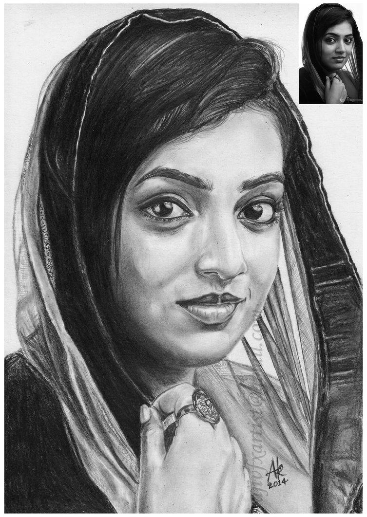 Film actress nazriya nazim pencil drawings by by ajikumar