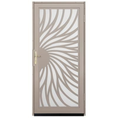 Unique Home Designs 36 In. X 80 In. Solstice Tan Surface Mount Steel  Security Door With White Perforated Screen And Brass Hardware, Powder Coat  Tan