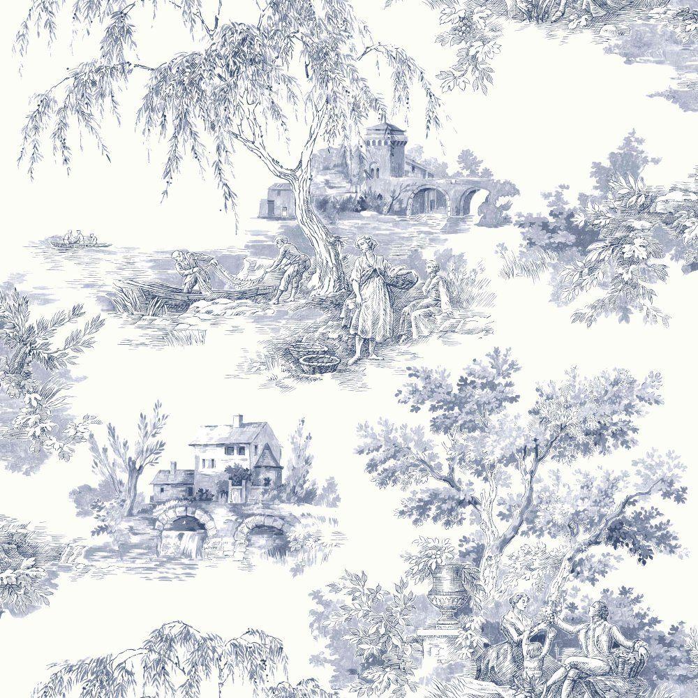 ideco tapisserie papier peint toile de jouy campagne. Black Bedroom Furniture Sets. Home Design Ideas