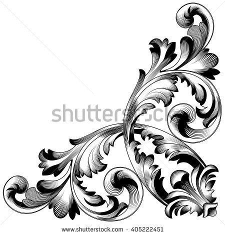 Vintage baroque frame scroll ornament engraving border floral retro vintage baroque frame scroll ornament engraving border floral retro pattern antique style acanthus foliage swirl decorative junglespirit Choice Image