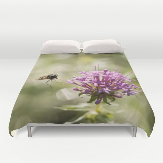 Flower With Hoverfly Duvet Cover #posters #artworks #graphic Design #texture  #inspiration #artists #stretched Canvas #illustrations #room #products # Pretty ...