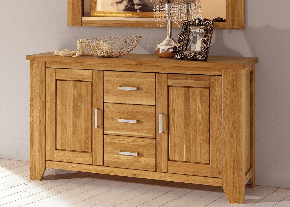Kommode / Sideboard In Eiche/wildeiche Teilmassiv Woody 19-00144