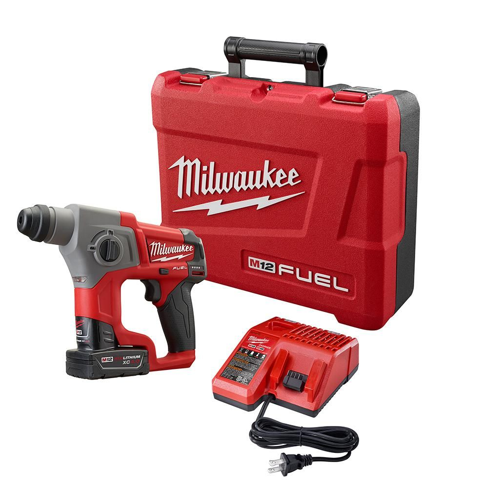 Milwaukee M12 Fuel 12 Volt Lithium Ion 5 8 In Brushless Cordless Sds Plus Rotary Hammer Kit W One 4 0ah Battery Bag 2416 21xc Milwaukee M12 Cordless Drill Reviews Drill Driver