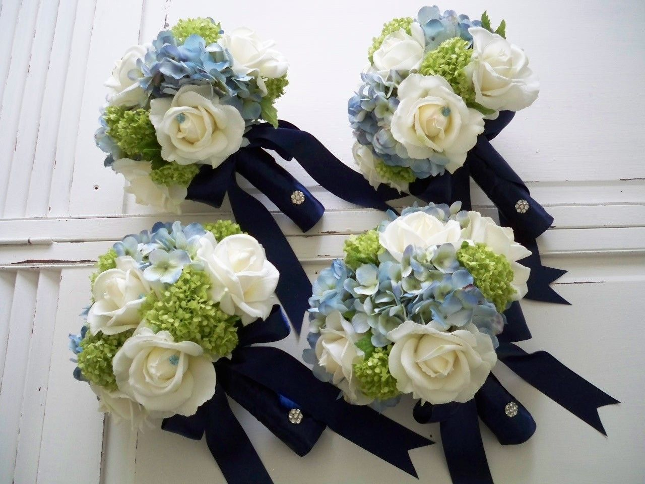Package Classic Navy And White Realtouch Rose And Silk Blue Hydrangea Bridal And Bridesmaids