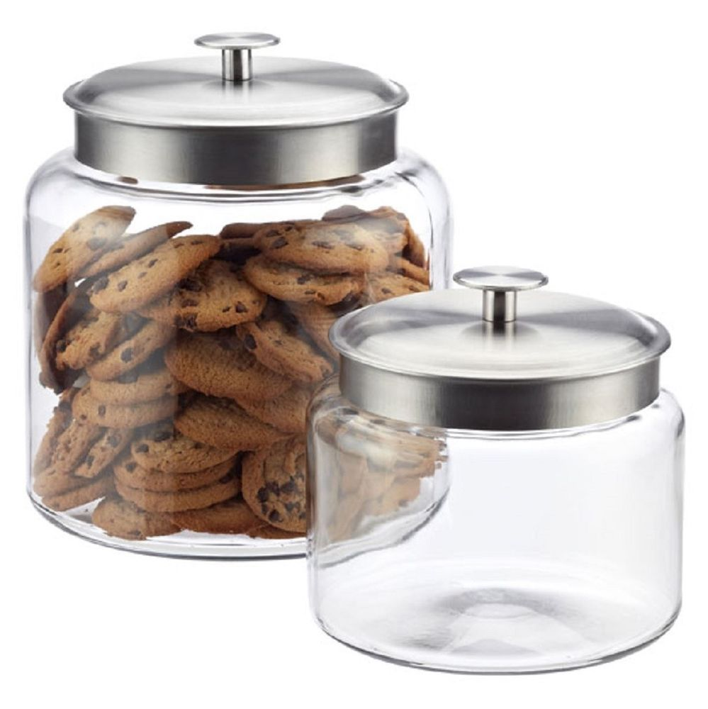 Decorative 1/2 Gallon Wide Mouth Glass Jar Silver Lid Flour Sugar ...