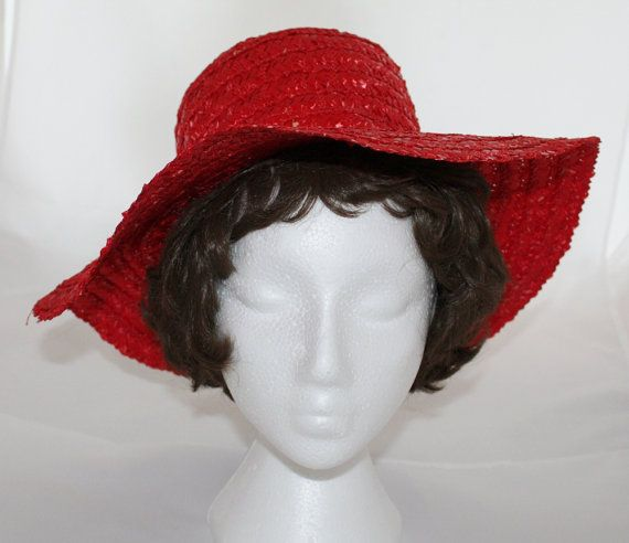 Reserved For Elrin Gallagher Vintage Wide Brim Red Straw Hat Etsy Straw Hat Wide Brimmed Brim