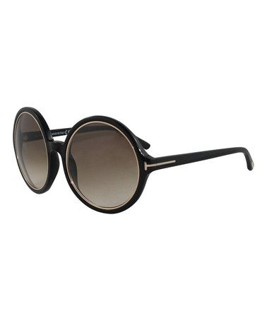 Look what I found on #zulily! Shiny Black & Gray Carrie Round Sunglasses #zulilyfinds