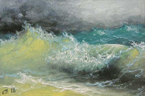 """138-5/""""x 7/"""" ORIGINAL CANVAS FINE ART PRINT SEASCAPE Ocean Walls Waves Rough Sea"""