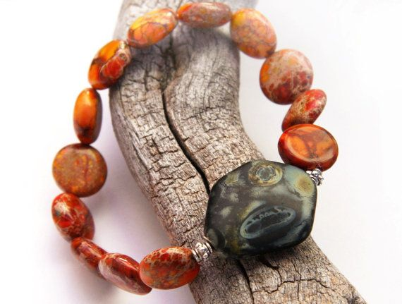 Energy Bracelet, Red Orange Sea Sediment Jasper Stone Bracelet, Green Artistic Glass, Sterling Silver Beads, Natural Stone Bracelet on Etsy, R$153,85