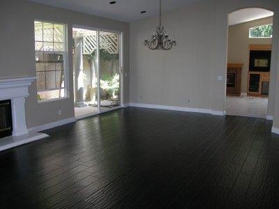 Black Bamboo Flooring Feel The Home Grey Walls White Trim Living Room Decor Gray Black Hardwood Floors