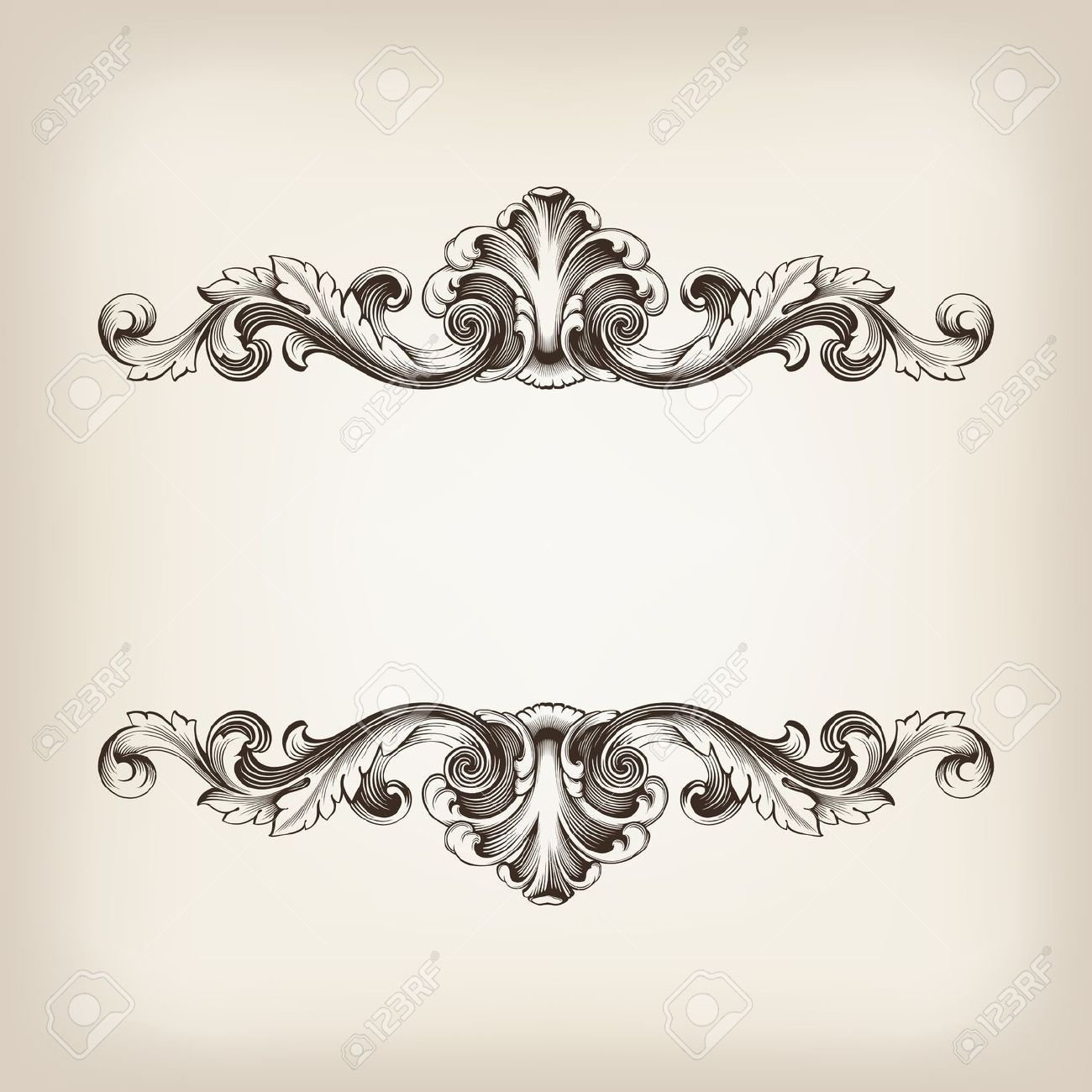 Vintage border frame filigree engraving with retro ornament ...
