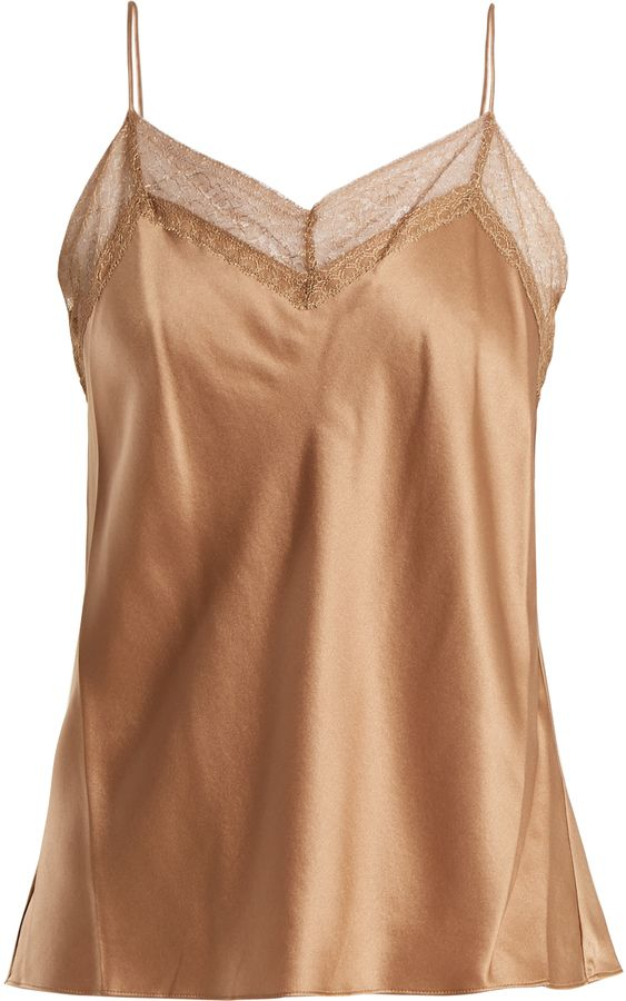 0bcdc8e8f3 VINCE Lace-trimmed V-neck silk cami top   Camisole,Tank Tops ...