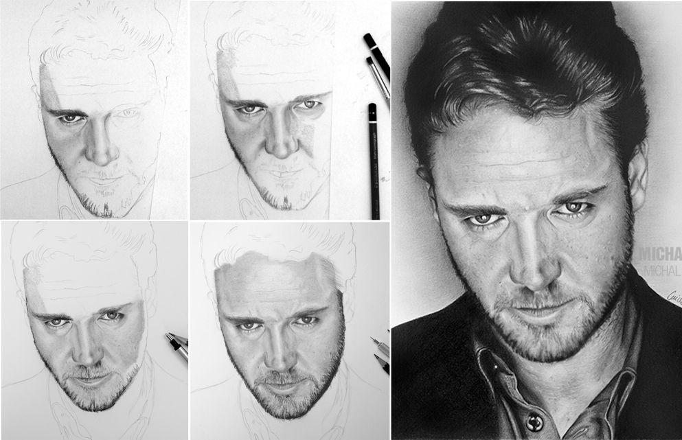 Russell Crowe krok za krokem - drawing pencil step by step