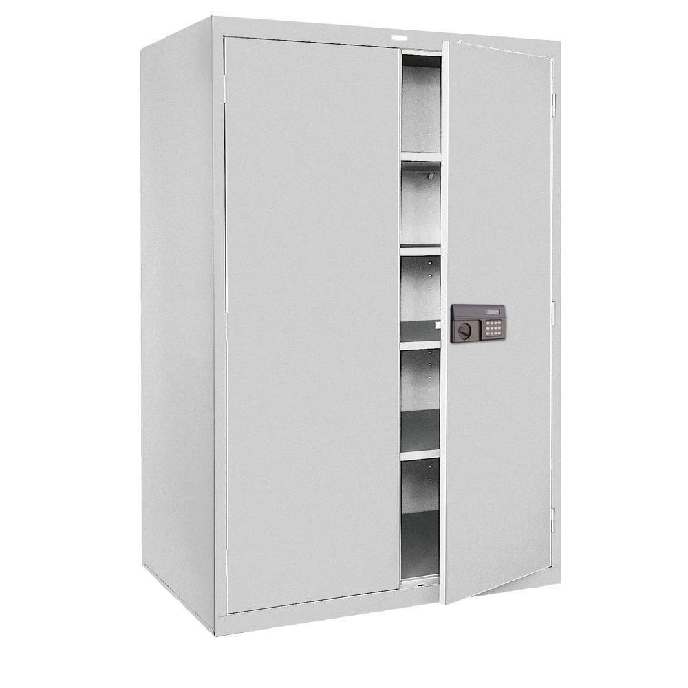 Large Metal Storage Cabinet 24u201d Deep 48u201d Wide Keyless Electronic Lock Gray