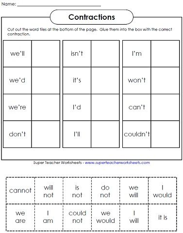 Contraction Worksheets Teaching Contractions Contraction Worksheet Super Teacher Worksheets 2nd Grade Worksheets