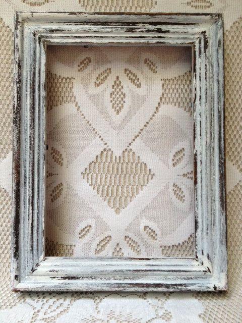 Vintage Rustic Wooden Frame White Distressed By Vintagerstyle Rustic Frames Rustic Picture Frames Frame Crafts