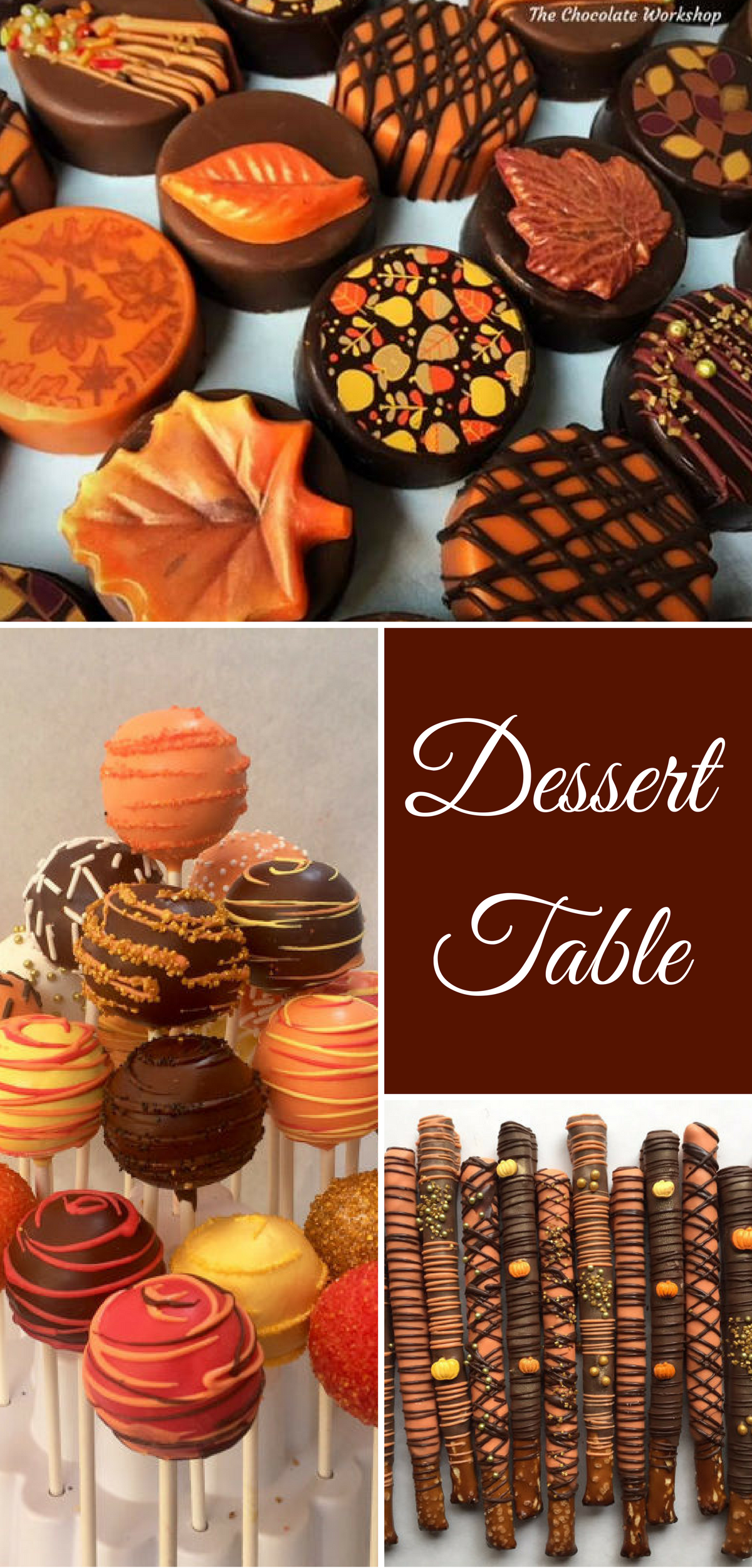 Autumn leaves chocolate covered oreous fall cake pops pretzel rods