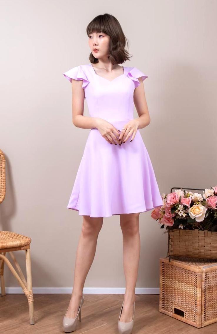 Lavender dress wedding guest sweetheart purple ruffle