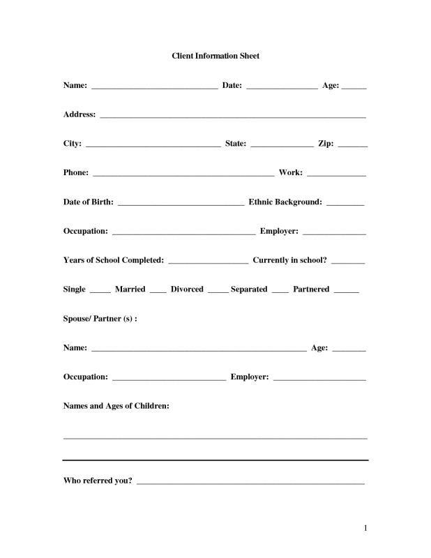 Client Information Sheet template Pinterest Template - information sheet template