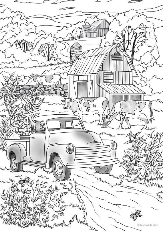 Country Car Printable Adult Coloring Page From Favoreads Etsy In 2020 Printable Adult Coloring Pages Printable Adult Coloring Cars Coloring Pages