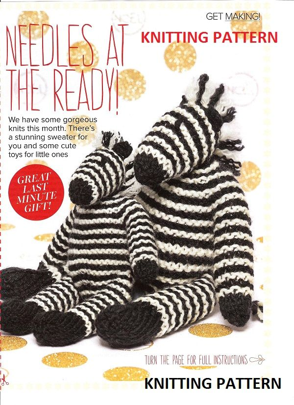 Prima Knitting Pattern Zebra Toys Soft Toys Hand Made Toys