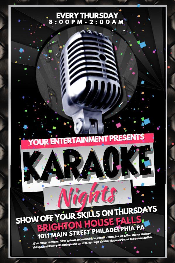 Karaoke party flyer design template Click to customize Karaoke