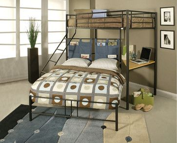 Winoma Black Metal Twin Over Full Bunk Bed With Study Desk Contemporary Kids Beds
