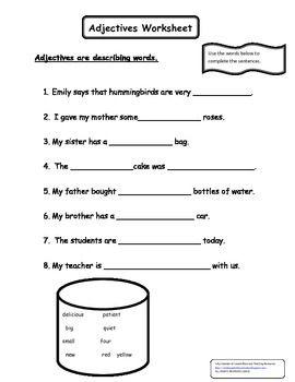 Adjectives Worksheet Adjective Worksheet Adjectives Describing Words Kinds of adjectives worksheets for