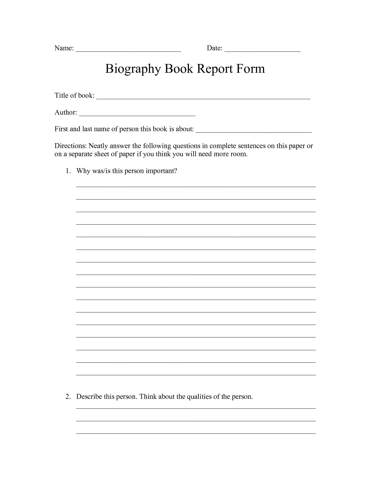 High School Printable Book Report Worksheet