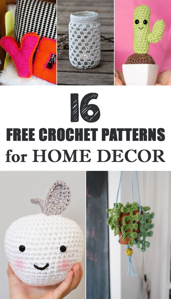 16 free crochet patters for home decor that are quick and easy to make amigurimis Crochet home decor pinterest