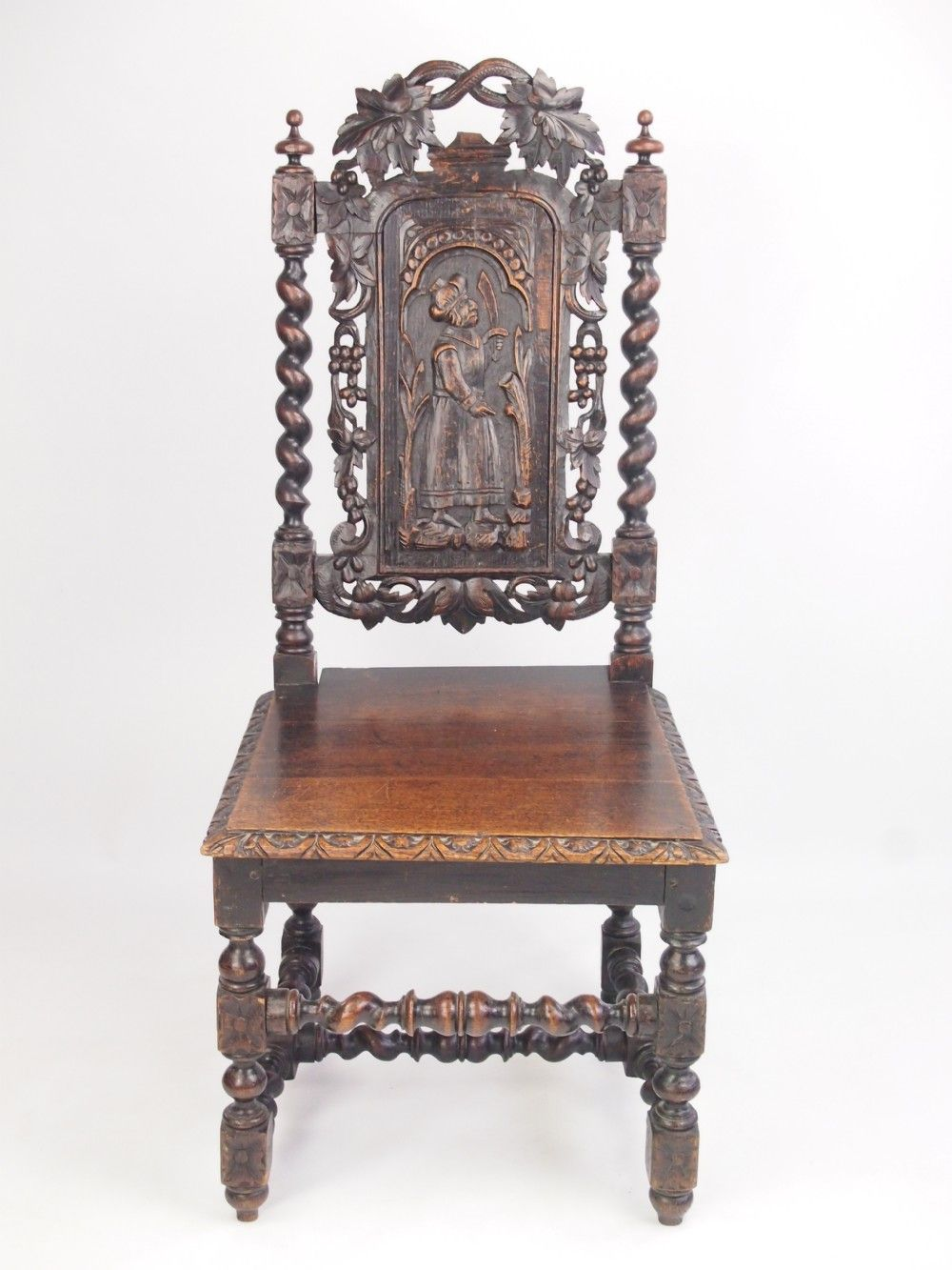 ANTIQUE VICTORIAN CARVED OAK GOTHIC CHAIR HALL OR DESK CHAIR - ANTIQUE VICTORIAN CARVED OAK GOTHIC CHAIR HALL OR DESK CHAIR