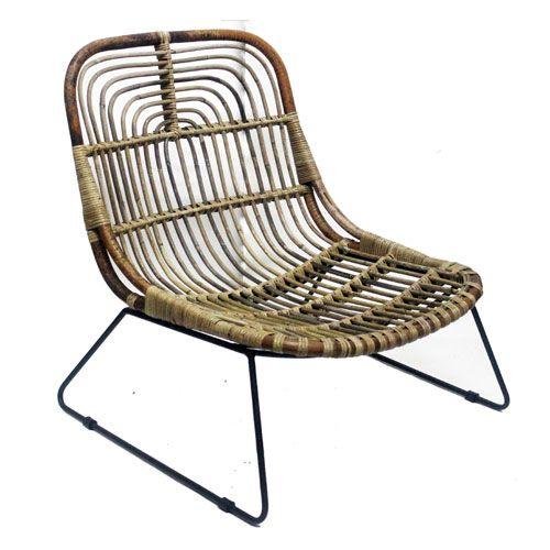 fauteuil bas en rotin naturel pieds m tal noir moka pied metal fauteuil bas et moka. Black Bedroom Furniture Sets. Home Design Ideas