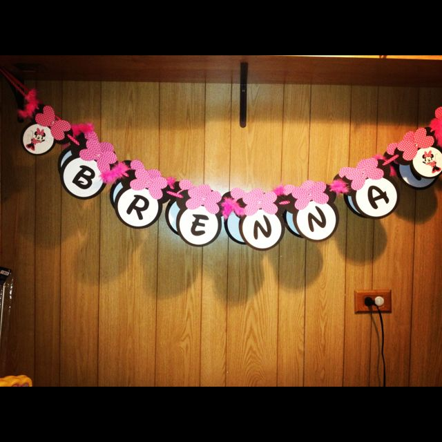 DIY Minnie Mouse Birthday Banner :) Downloadable Template