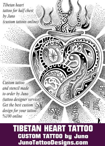tibetan heart tattoo,  juno tattoo designs