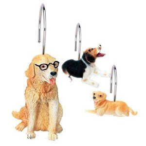Amazon Com Dogs Shower Curtain Hooks Set Of 12 Home Kitchen
