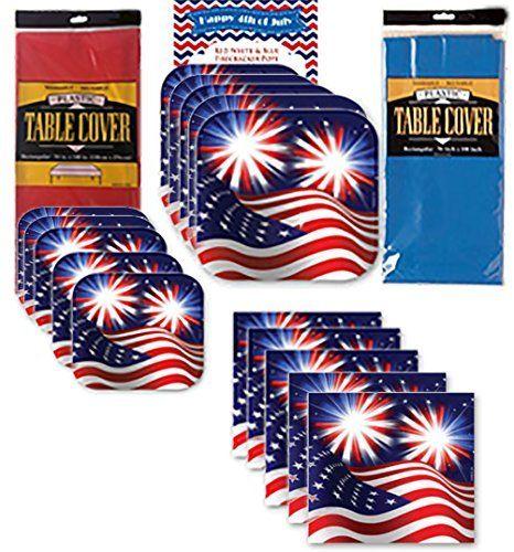 4th of July Disposable Dinnerware Party Supplies Pack Kit - Patriotic Fireworks American Flag Stars \u0026 Stripes - Dinner Plates Dessert Plates ...  sc 1 st  Pinterest & 4th of July Disposable Dinnerware Party Supplies Pack Kit ...
