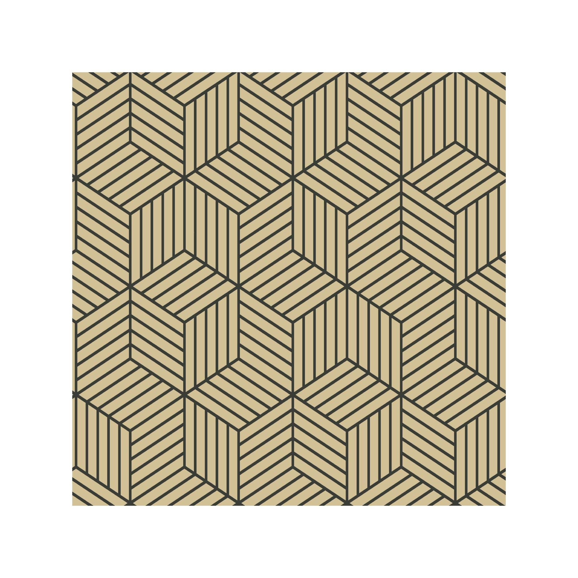 Stripped Hexagon Peel Stick Wallpaper Goldblack Roommates Gold