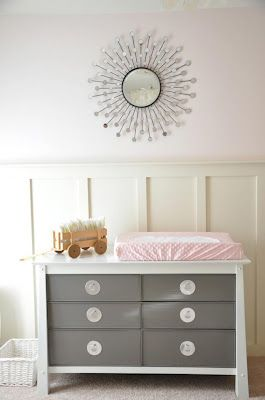 Modern Elegance Grey White Baby Nursery Star Burst Mirror Over Changing Table