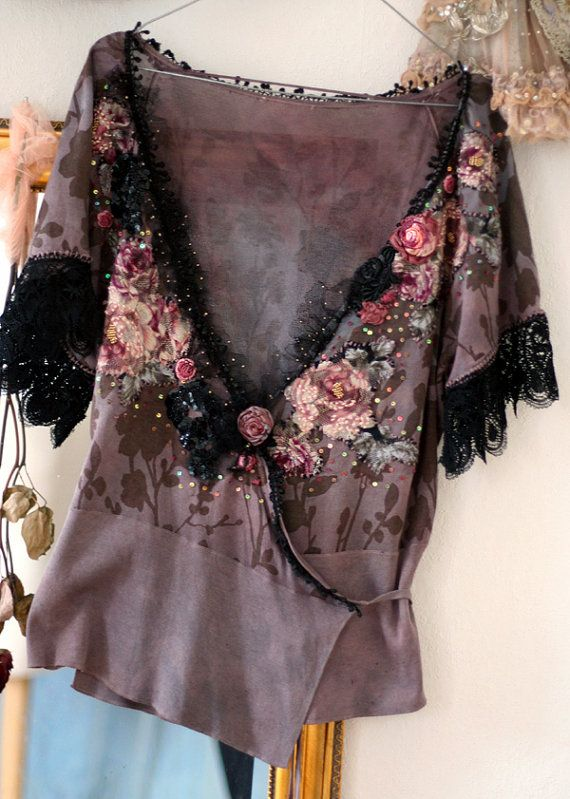 Ablsolutely feminine and romantic piece. Delicate silk knit cardi with my hand embroidery and hand beading. Hand dyed in shades of dusty mauve and