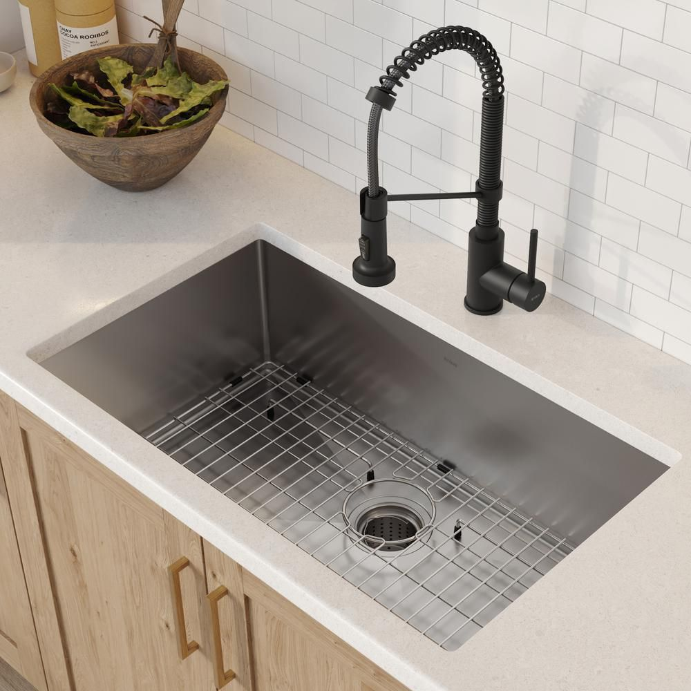 Kraus Standart Pro All In One Undermount Stainless Steel 30 In Single Bowl Kitchen Sink With Faucet In Matte Black Khu100 30 1610 53mb The Home Depot In 2020 Undermount Kitchen Sinks Single Bowl Kitchen Sink