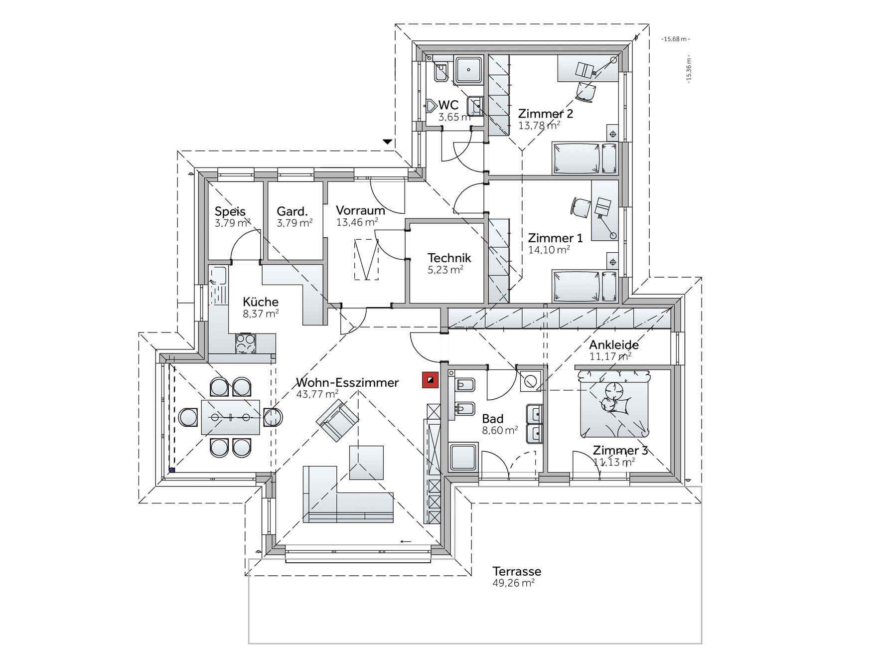 Luxus bungalow mit garage  Fertighaus Bungalow S141 | Bungalow | Pinterest | Fertighaus ...
