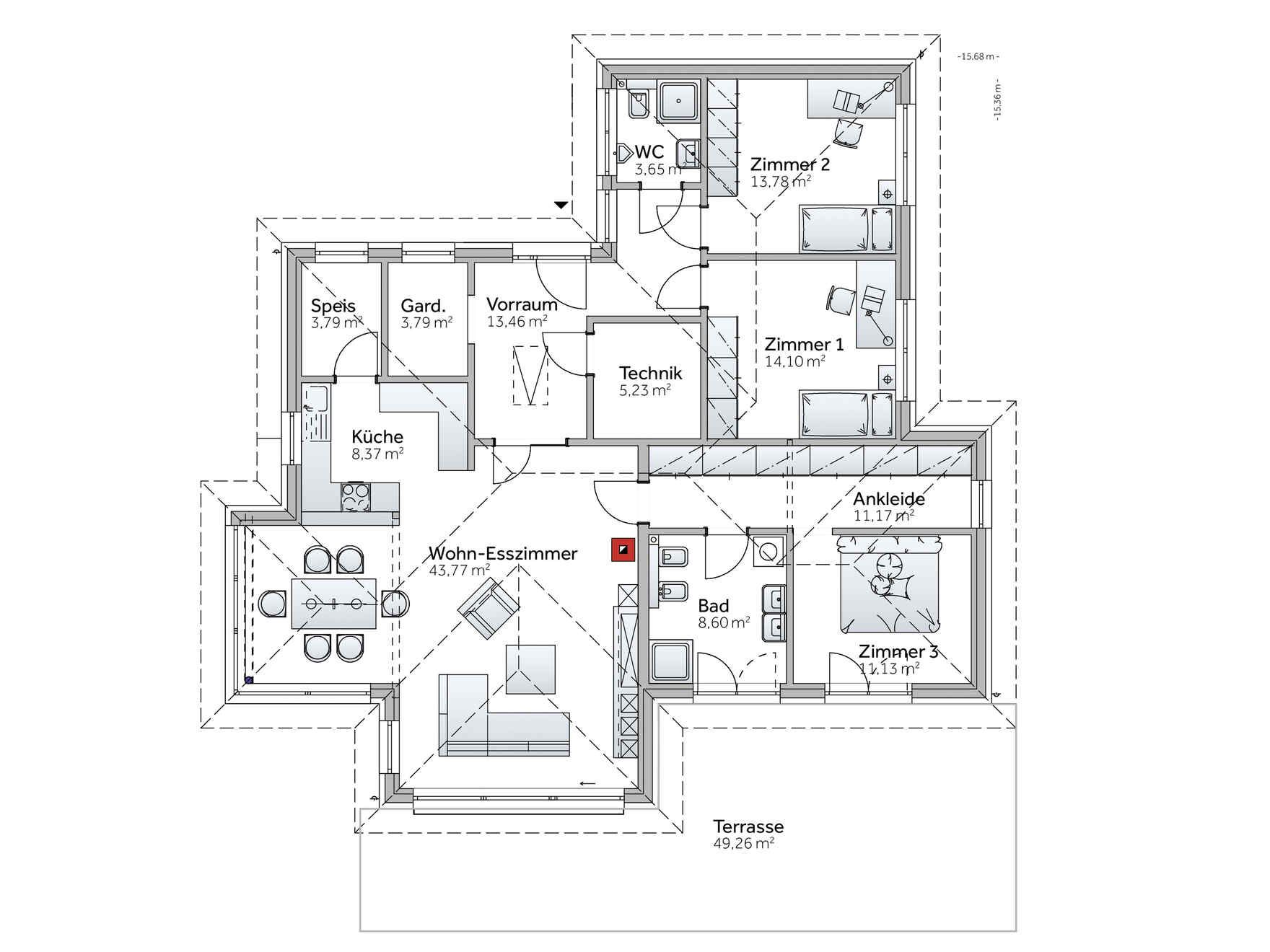Fertighaus grundriss  Fertighaus Bungalow S141 | Architektur | Pinterest | Fertighaus ...