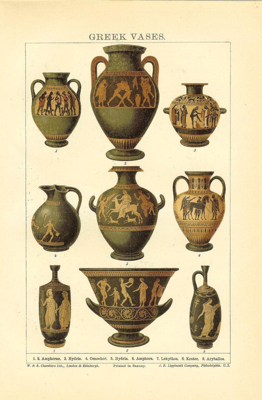 Antique 1906 Greek Vases Print. Ideal For Framing | Greek ...