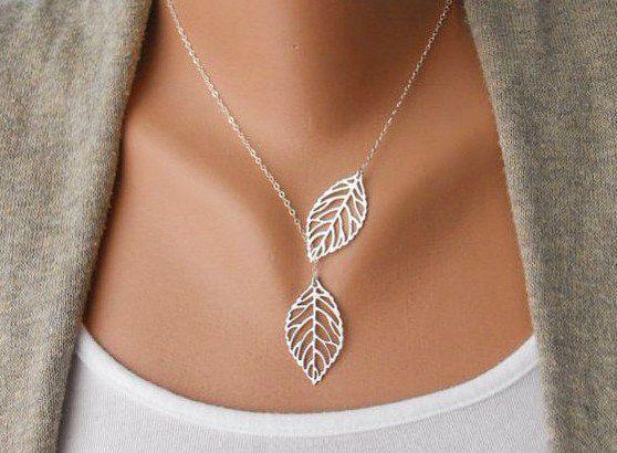 Skeleton Leaf Necklace,Wedding Silver Lariat Necklace,Elegant Necklace,Woodland Filigree Leaf Jewelry,Silver Plated Chain Necklace N-3 on Etsy, $6.98
